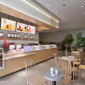 现代奶茶店3D模型【ID:653770400】
