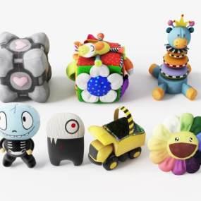 现代卡通动物玩偶布娃娃组合3D模型【ID:353361479】