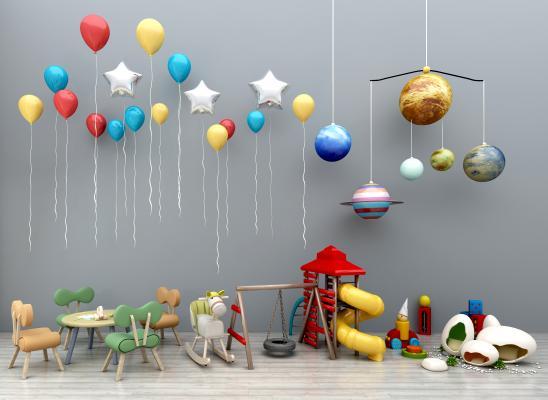 现代儿童桌椅卡通儿童桌椅气球玩具儿童秋千滑滑梯儿童卡通吊灯木马组合3D模型【ID:936089398】