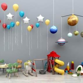 现代儿童桌椅卡通儿童桌椅气球玩具儿童秋千滑滑梯儿童卡通吊灯木马组合365彩票【ID:936089398】