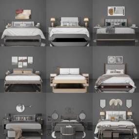 現代床3D模型【ID:648144190】