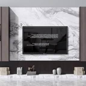新中式电视柜3D模型【ID:934446912】