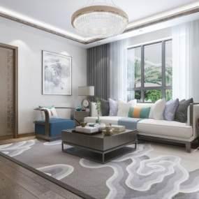 新中式客厅3D模型【ID:534763061】