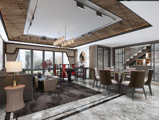 现代风格客厅餐厅3D模型【ID:553670009】