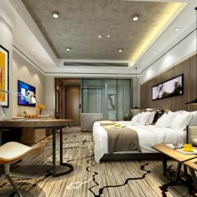 现代酒店客房3D模型【ID:735775326】