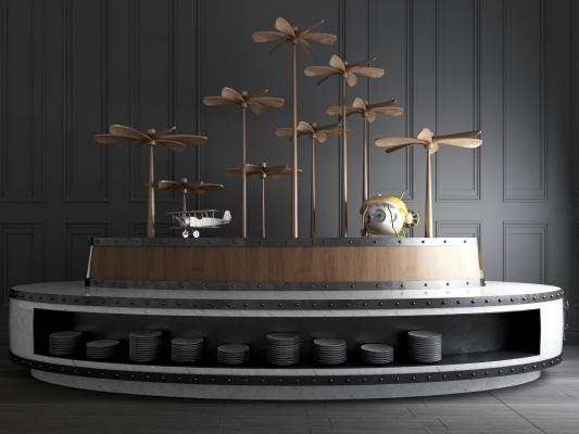 工业风自助取餐台装饰品摆件组合3D模型【ID:943243533】