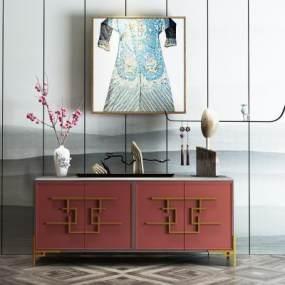 新中式装饰柜3D模型【ID:133022146】