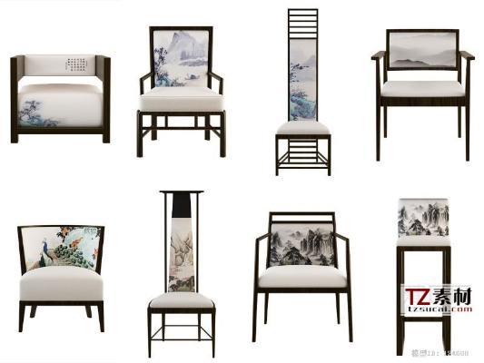 新中式椅子3D模型【ID:742940109】