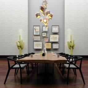 现代会议桌休闲桌椅组合3D模型【ID:830744955】