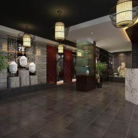 中式餐厅大堂3D模型【ID:642501221】