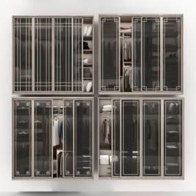 现代衣柜组合3D模型【ID:135831444】