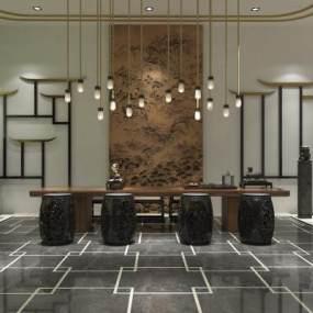 新中式茶室3D模型【ID:643073101】