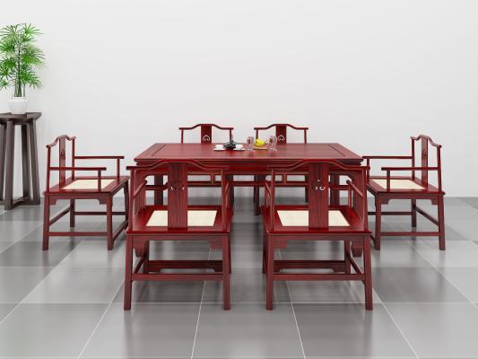 中式桌椅子3D模型【ID:743323135】