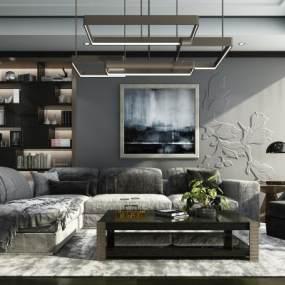 后现代沙发组合3D模型【ID:633511745】