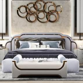 现代床3D模型【ID:646570191】