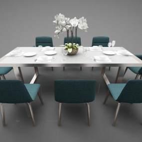 现代风格餐桌3D模型【ID:852650820】