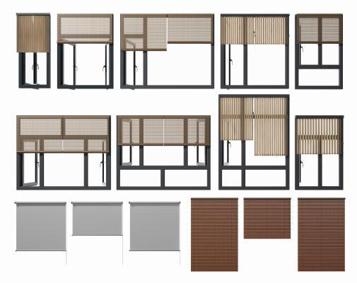 現代鋁合金窗窗簾組合3D模型【ID:350651243】