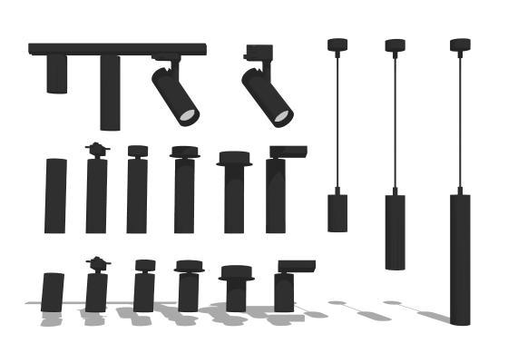 現代射燈筒燈組合SU模型【ID:447632621】