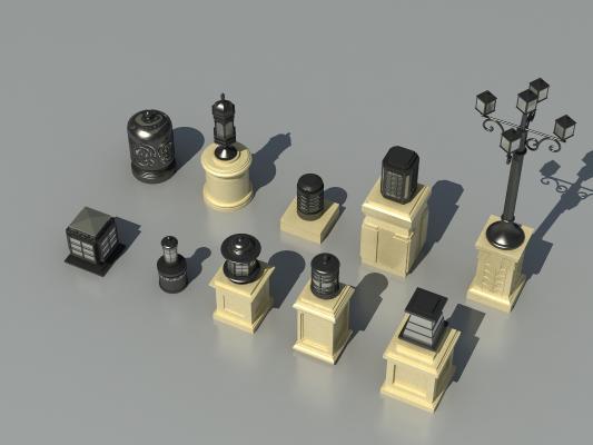 欧式灯柱3D模型【ID:835970526】