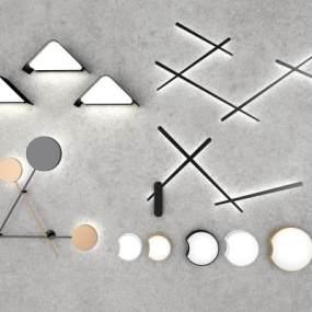 现代几何壁灯组合 3D模型【ID:741362961】