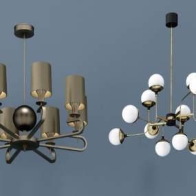 现代金属吊灯组合3D模型【ID:731775840】