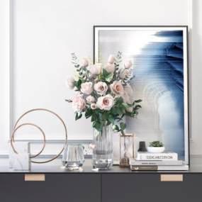 現代輕奢玻璃花瓶飾品擺件3D模型【ID:249039588】