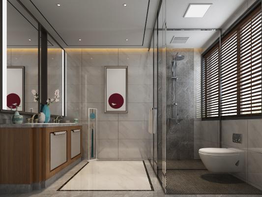 新中式卫生间3D模型【ID:549247575】