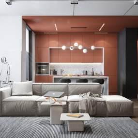 现代风格客餐厅3D模型【ID:553929100】