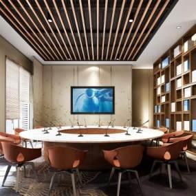 新中式酒店会议室3D模型【ID:732943506】