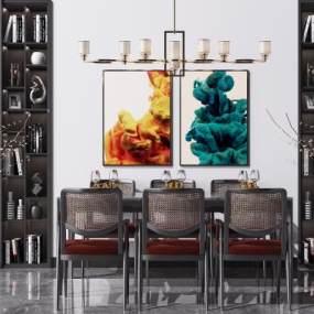 新中式餐桌椅組合3D模型【ID:848900824】