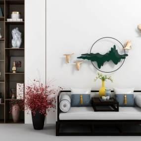 新中式书架墙饰中式榻组合3D模型【ID:631310502】