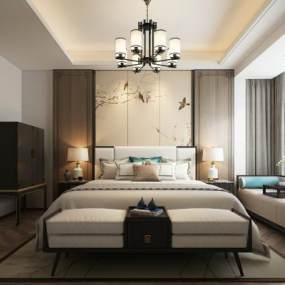 新中式卧室3D模型【ID:549414270】