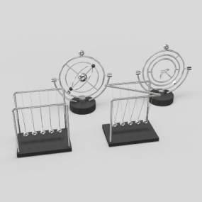现代牛顿摆混沌摆永动机摆件3D模型【ID:236257503】