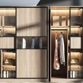 现代衣柜组合3D模型【ID:149101448】