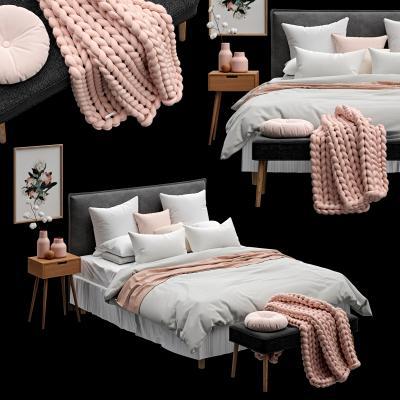 现代双人床装饰品床头柜组合国外3D模型【ID:632185160】