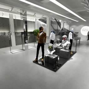 工业风服装店3D模型【ID:135289031】