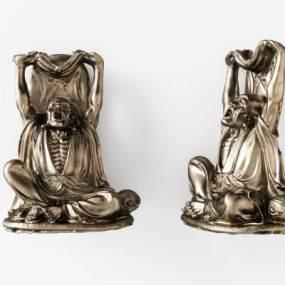 中式人物铜雕塑3D模型【ID:332354147】