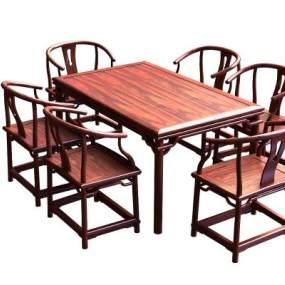 明式餐桌椅组合3D模型【ID:833065843】