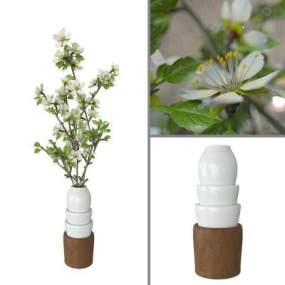 现代陶瓷花瓶桃李花3D模型【ID:233352892】