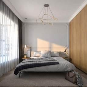 北欧风格卧室3D模型【ID:553447276】