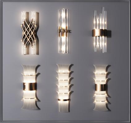 现代轻奢水晶壁灯组合 金属壁灯 水晶壁灯