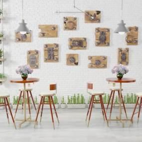 后现代简约吧桌椅组3D模型【ID:832516802】