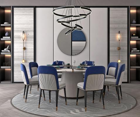 現代奢華餐桌椅組合3D模型【ID:748457102】