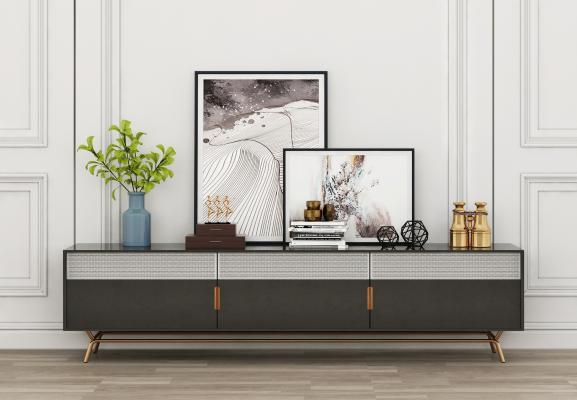 現代電視柜3D模型【ID:947269936】