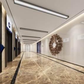 现代风格电梯厅3D模型【ID:743254629】