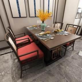 新中式餐桌组合3D模型【ID:842499811】