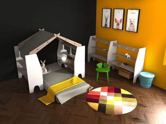 北歐兒童床房3D模型【ID:847390815】