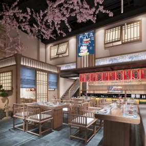 日式新中式寿司店餐厅餐馆3D模型【ID:636033217】