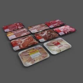 现代超市肉类食物保鲜盒 3D模型【ID:241901831】
