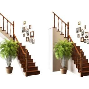 美式实木转角楼梯3D模型【ID:345188588】